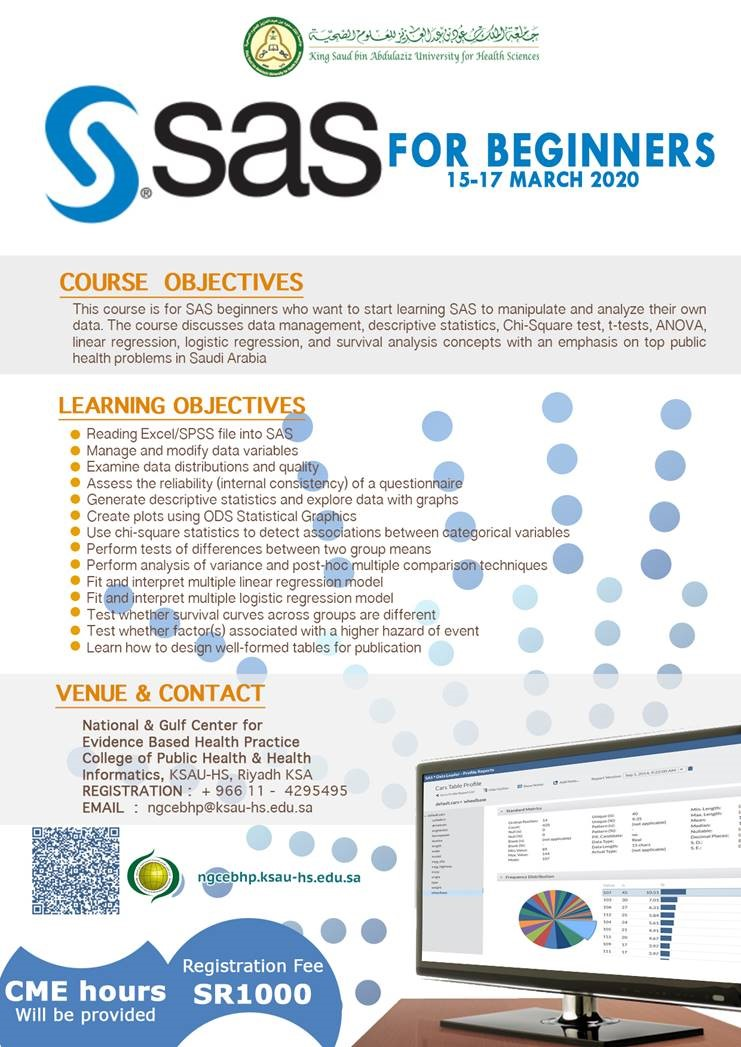 SAS FOR BEGINNERS (15-17 MARCH 2020)
